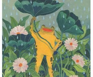 art, frog, and leaf image