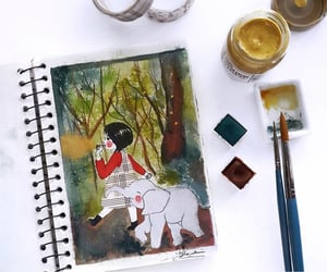 art, red, and animal image
