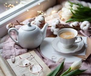 book, coffee, and tea time image