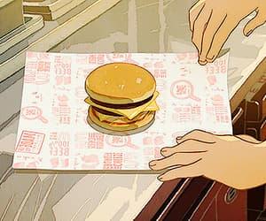 anime, burgers, and food image