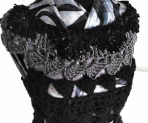 black sweater, crocheted vest, and crocheted leather image