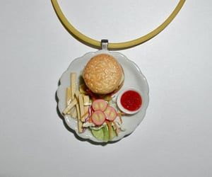 hamburger, miniature food jewelry, and miniature jewelry image