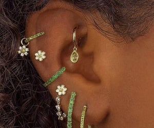 earrings, green, and jewelry image