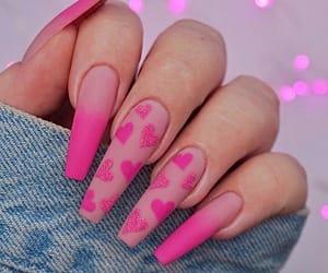 nails, pink, and hearts image