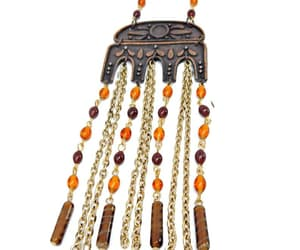 beaded necklace, vintage necklace, and copper necklace image