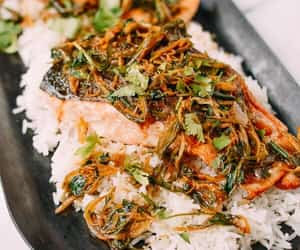 chinese food, salmon, and fish image