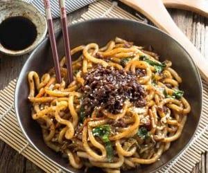 chinese food, mushroom, and pork image