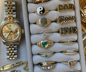 gold, rings, and style image