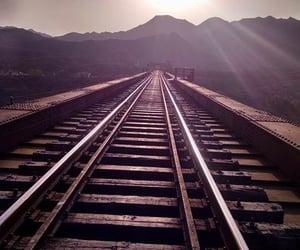 railroad, tracks, and train image