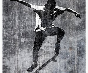 poster, skater, and stencil image