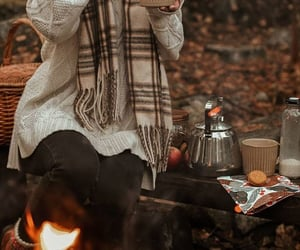 autumn, fire, and outdoors image