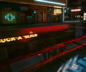 buildings, cyberpunk, and sidewalk image
