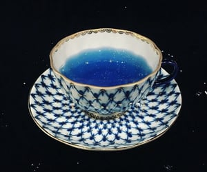 blue, glitter, and tea image