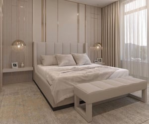 bed, beige, and decor image
