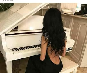 fille, girl, and piano image