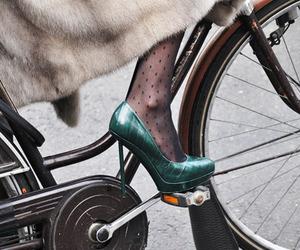 shoes, bike, and fur image