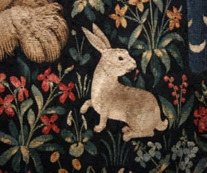 flowers, green, and rabbit image