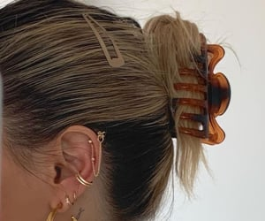 earrings, jewelry, and hair image