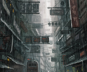 art, rain, and city image