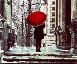 red, umbrella, and snow image