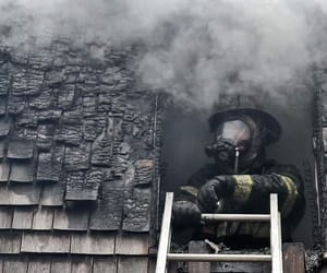 fire, firefighter, and smoke image