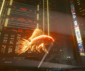 city, cyberpunk, and fish image