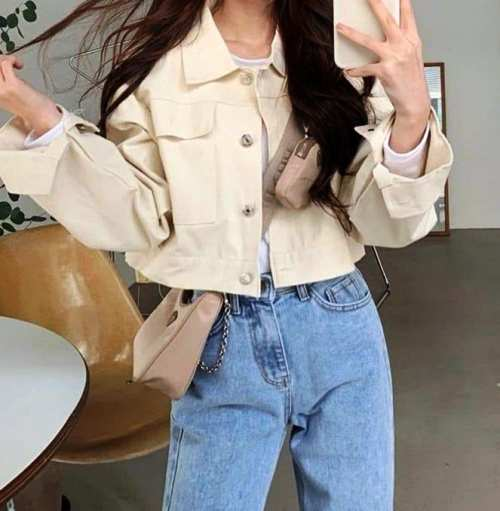 blue pants and cropped jean top image