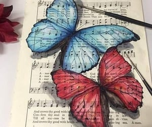 butterfly, art, and music image
