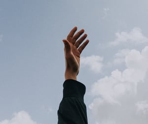 clouds, hand, and sky image