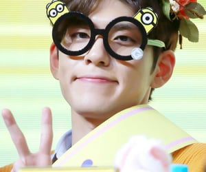 fansign, flower crown, and glasses image