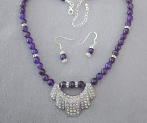 Faceted Amethyst with Rhinestone Focal and Rondels Necklace and Earrings Set OOAK