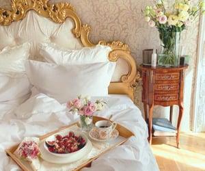 bedroom, breakfast, and flowers image