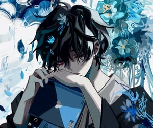 aesthetic, anime, and blue image