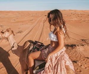 camel, girl, and sun image
