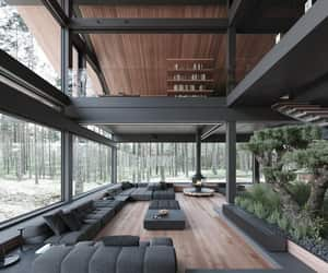 home, black, and interior image