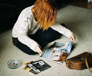 girl, bag, and magazine image