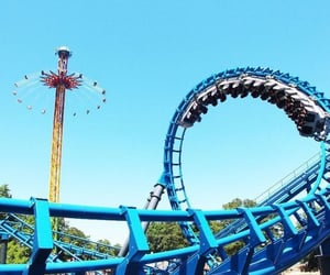 amusement park, rollercoaster, and ride image