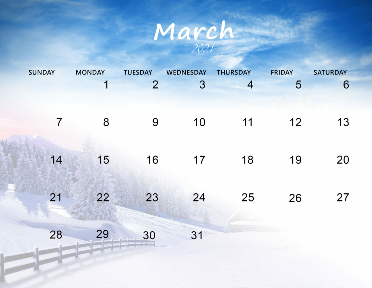 article and march 2021 calendar image