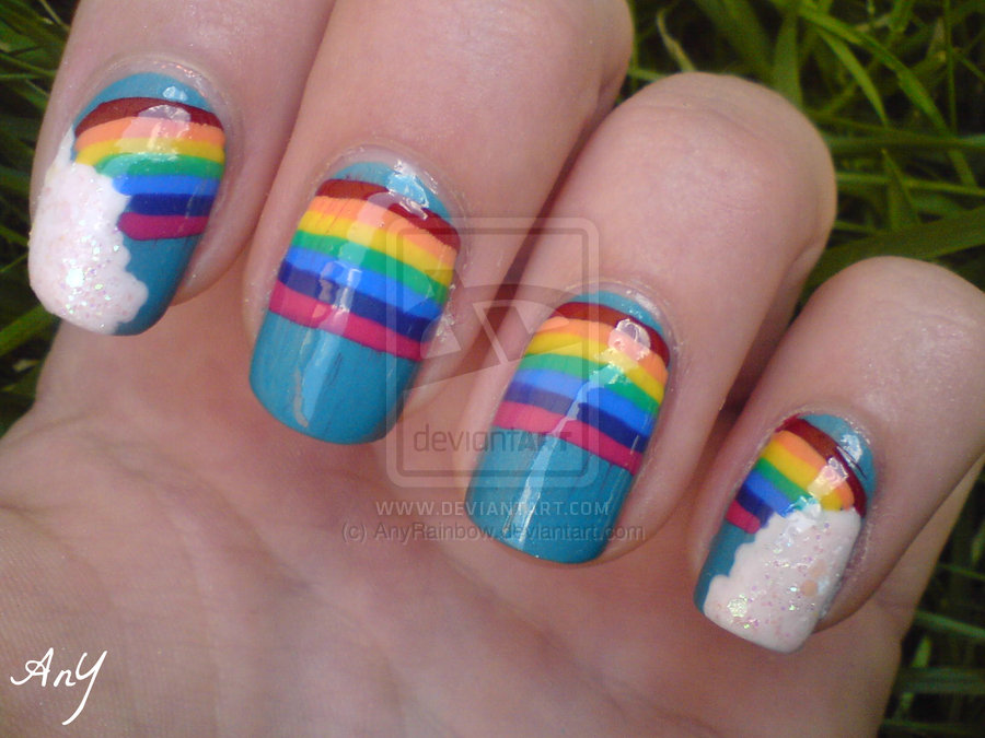 Huge Rainbow Nail Design By Anyrainbow On Deviantart