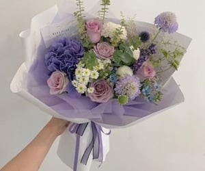 flowers, bouquet, and purple image