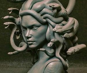 art, medusa, and snakes image