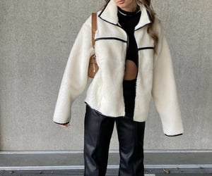 white coat, everyday look, and faux fur jacket image