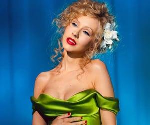 burlesque, christina aguilera, and green aesthetic image
