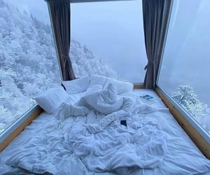 snow, bed, and winter image