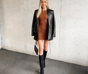boots, fall fashion, and leather jacket image