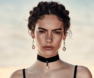 choker, dress, and earrings image
