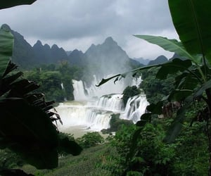 green, nature, and waterfall image