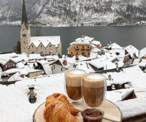 coffee, croissant, and snow image