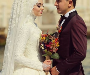 bride, couple, and hijab image