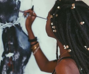 Afro, painting, and locs image